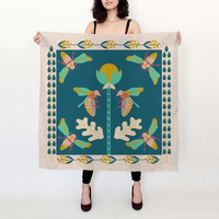 Secret Garden Silk Scarf - Big silk scarf - colorful silk scarf