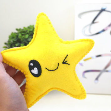 Kawaii Star, Yellow Star Ornament, Kawaii Ornament, Cute Felt Star, Christmas Ornament, Christmas Home decor
