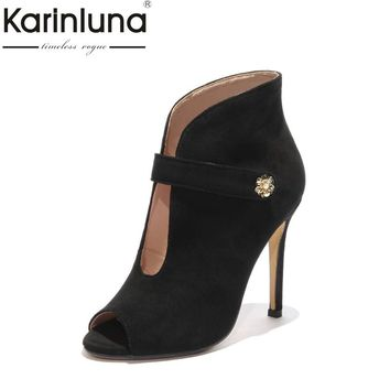 KarinLuna Sexy Women's Summer Thin High Heels Peep Toe Ankle Boots 2018 Black Red Nubuck Upper Shoes Woman Big Size 33-43
