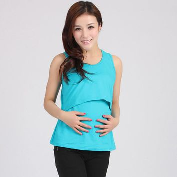 Maternity Feeding Vest T-Shirt - Nursing Tops for Breastfeeding