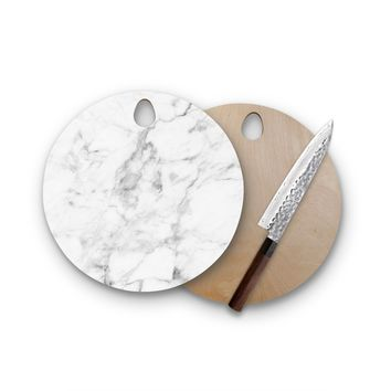 Classic White Marble Round Cutting Board Trendy Unique Home Decor Cheese Board
