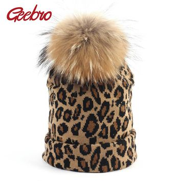 Geebro Women's Leopard Beanie Hat with Pompom Winter Warm Printing Slouchy Beanies with Raccoon Fur Pompom Femme Skullies&Beanie
