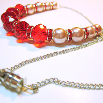 NECKLACE CRYSTALS Red Faceted Crystals Pink Pearls Red Crystal Roundells Red Jewelry Necklace Gift Ideas For Her