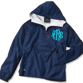 YOUTH Fleece Lined Monogrammed Pullover Rain Jacket Half-Zip Personalized Jacket 1/4 Zip Monogrammed Jacket - Wind Breaker - Not Lined
