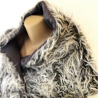 gray faux fur scarf, shawl ,2014  Winter scarf  , shaggy scarf, plush scarf Clothes Dress up accessories for women , Very Soft and Plush