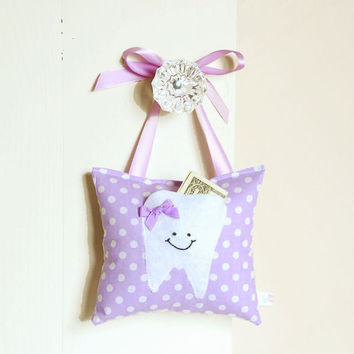 Girls Tooth Fairy Pillow in Sweet Lilac Polka Dot Print