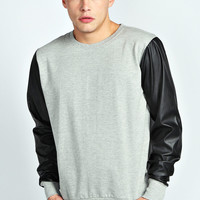 Sweater with Leather Look Sleeves