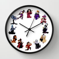 Time To Be A Villain Wall Clock by Katie Simpson