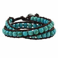 Stainless Steel Dyed Turquoise Leather Cord Multi Wrap Bracelet