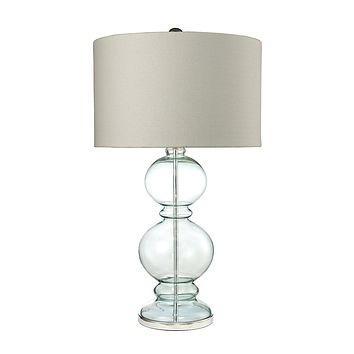Curvy Glass Table Lamp in Light Blue With Textured Linen Shade