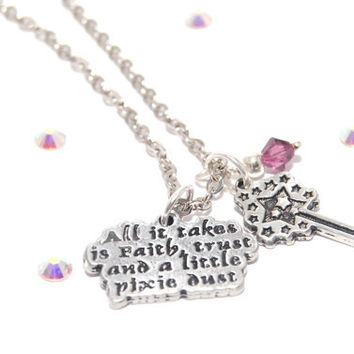 FAITH TRUST and PIXIE Dust Pewter Charm Necklace With Pixie Dust wand and crystal of choice