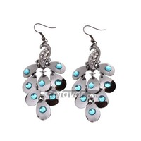 Fashion White Peacock Chandelier Earrings at Online Jewelry Store Gofavor