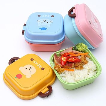 Cartoon 2 layer Dinnerware Sets Double Tier PP Bento Food Container Storage Lunchbox Bento Container