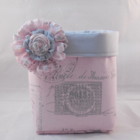 Pretty Smaller Pink And Gray Paris Themed Fabric Basket With Detachable Fabric Flower Pin For Storage Or Gift Giving