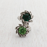 Vintage Green Glass Bypass Ring - Adjustable Silver Tone Costume Jewelry / Flower Wrap Cocktail Ring