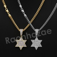 "Iced Out 14K PT Gold STAR OF DAVID Pendant W/5mm 24"" 30"" Cuban Chain"