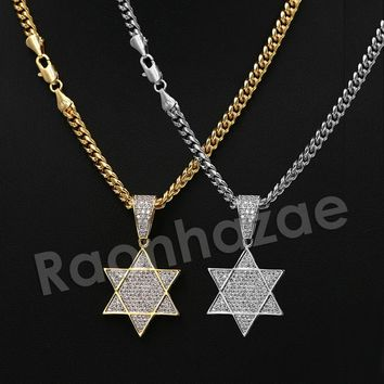"""Iced Out 14K PT Gold STAR OF DAVID Pendant W/5mm 24"""" 30"""" Cuban Chain"""