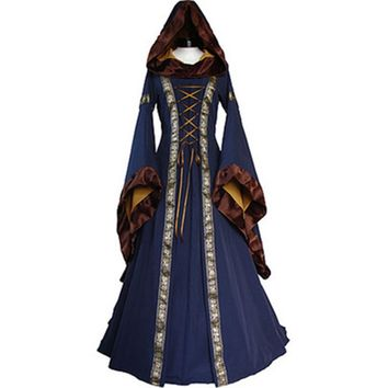 Cool 2018 Women Costume Medieval Maiden Fancy Cosplay Over Dress Halloween Costumes For Women Victorian Dress CostumeAT_93_12