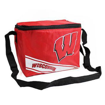 Licensed Wisconsin Badgers Official NCAA Cooler 6 Pack Ice Box Bag Forever Collectibles KO_19_1