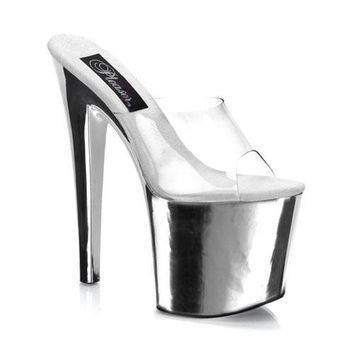 Pleaser Female 7 1/2 Inch Stiletto Heel Platform Slide TAB701