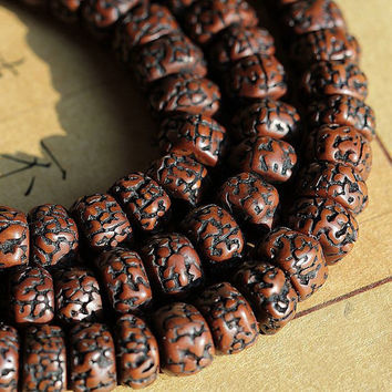 108pc  Nepal Old Lotus Seed Prayer Beads Tibetan Barrel Dark Brown Japa Mala Bodhi DS014