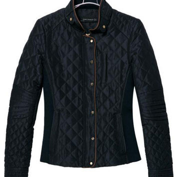 Black Plaid Padded Long Sleeve Jacket