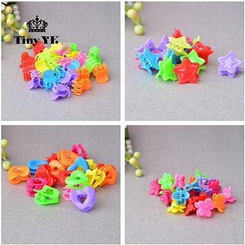 25pcs Todder Accessories Mini Hair Claw Clamps Flower Heart Plastic Hair Clips Grips Hair Jaw Mix Color
