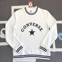 Converse Fashion New Bust Letter Print Long Sleeve Women Men Top Sweater White