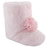Wee Kids Faux-Fur Slipper Crib Shoes - Baby Girl