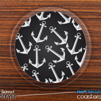 The Black Anchor Collage Skinned Foam-Backed Coaster Set