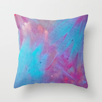 Blue Bloom Abstract Throw Pillow by DuckyB (Brandi)
