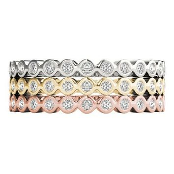 Stackables 1/2 Eternity Tri-Tone Gold Petite Round Bezel 3-Band Set