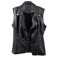 BLACK MOTO FAUX LEATHER VEST INSANE JUNGLE