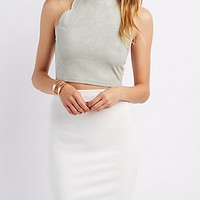 SCALLOPED FAUX SUEDE CROP TOP