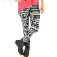 Everton Dumes Black and White Aztec Leggings