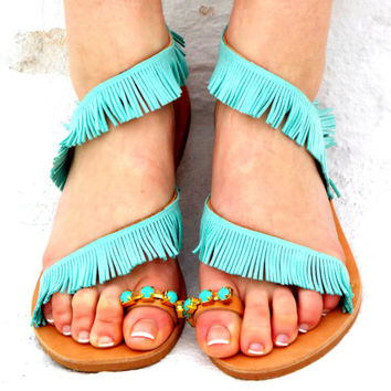 "Wedding Turquoise Leather Sandals, Greek Sandals, ""Mykonos"" Traditional Sandals, wedding shoes, barefoot sandals,"