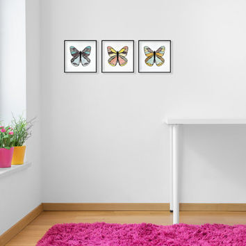 Framed Butterfly Wall Accent - Children's / Nursery Room Decor - Free Shipping