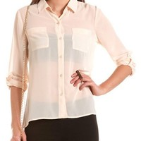 Animal Inset Hi-Low Blouse: Charlotte Russe