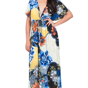 Retro Floral Caftan Maxi Dress