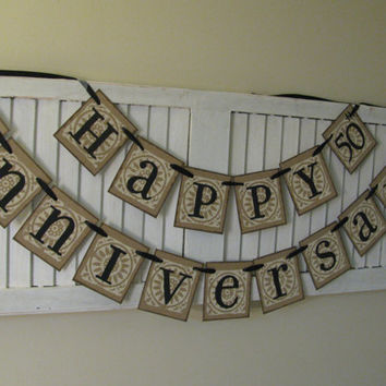 Golden Wedding Anniversary Banner Bunting Garland Sign Can Add Additonal Row with Names