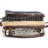 1 Set 4PCS leather bracelet multi-layer bead retro punk casual men's jewelry accessories