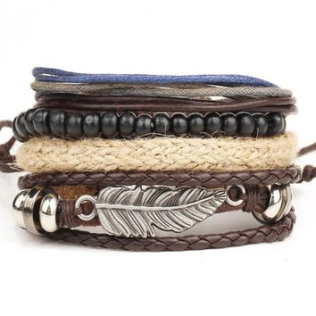 Leather bracelet Men's multi-layer bead bracelet