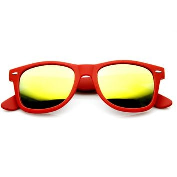 Trendy Soft Rubber Colorful Mirror Lens Horned Rim Sunglasses 8999