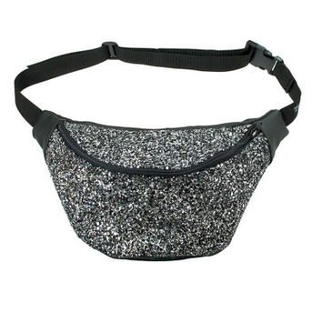 Galaxy glitter fannypack, bumbag, hip bag, ykk zipper, black Eco leather silver and black