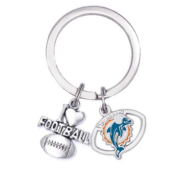 School Rugby Accessories Keychain Miami Dolphins logo Metal Label Pendant Key ring Love Rugby Charms Key chain