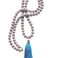 Beige Long Beaded Crystal Tassel Necklace
