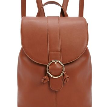 Flap-Top Faux Leather Backpack