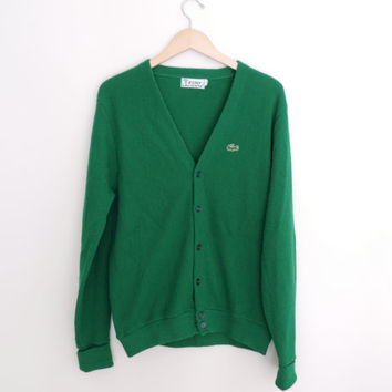 Vintage Green Lacoste Cardigan Sweater Size LARGE
