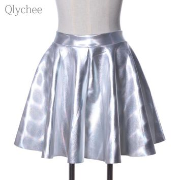 Qlychee Summer Harajuku Hologram Silver Skater Skirt Shiny Metalic Laser Pleated Skirt Evening Party Mini Skirt