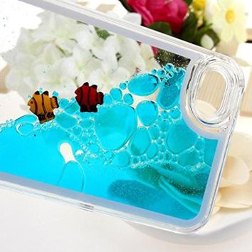 YiMoo Phone Case For iPhone 5/ 5S, Luxury Transparent Flowing Liquid Swimming Fish Hard Back Cover for iPhone 5/ 5S Color Blue